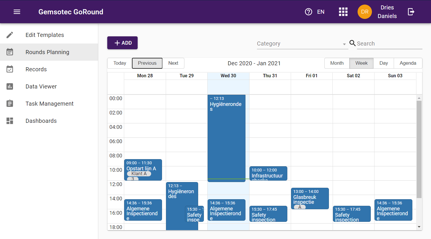 The scheduling module allows you to schedule everything and assign it to people and assets.